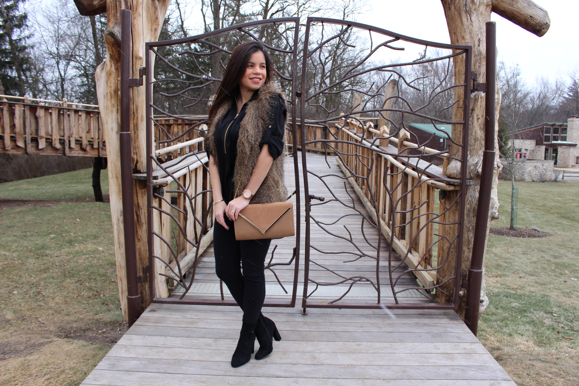 all black outfit for winter with pop of colorby alejandra avila