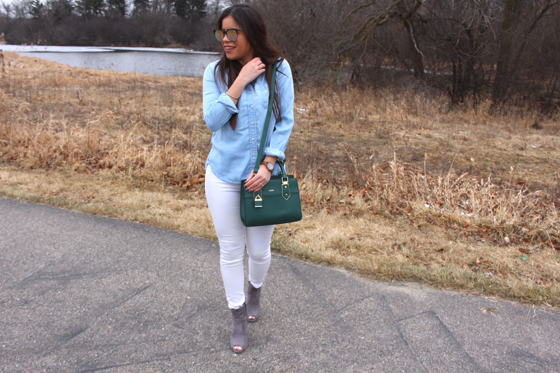 jean top white pants aldo bag jord wood watch fashion nova jean shirt by alejandra avila