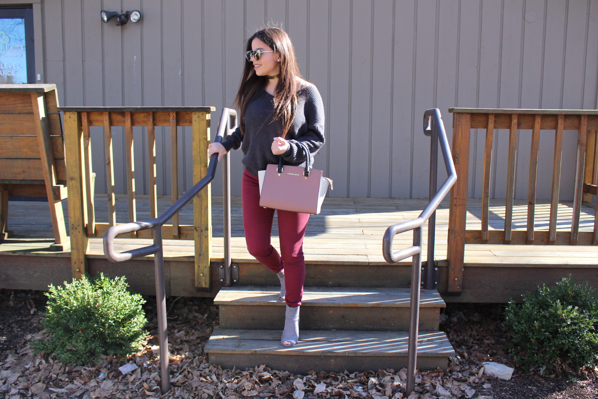 outfit gray sweater burgundy jeans by alejandra avila