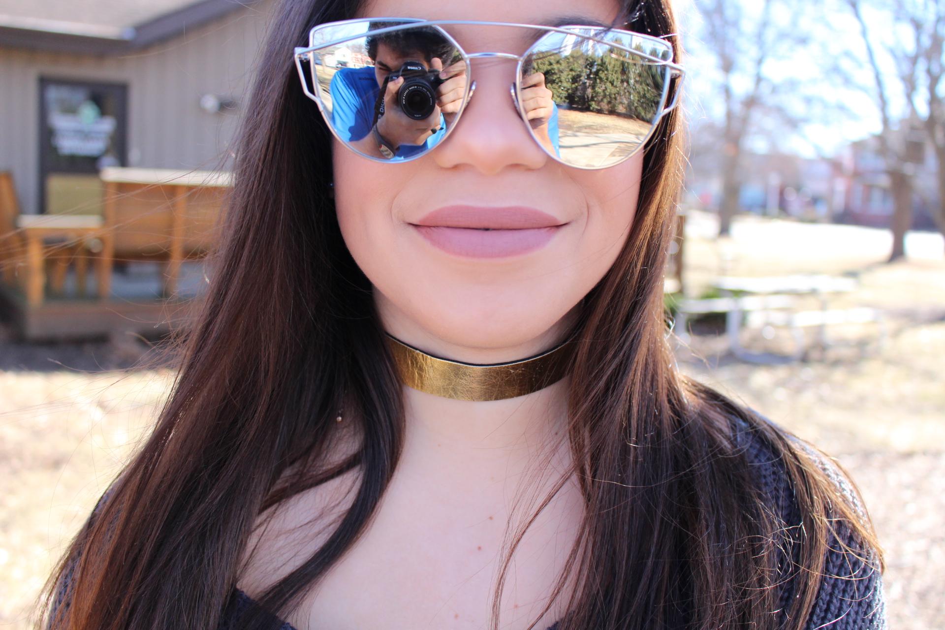 outfit gray sweater twited back burgundy jeans michael kors mk quay sunglasses by alejandra avila
