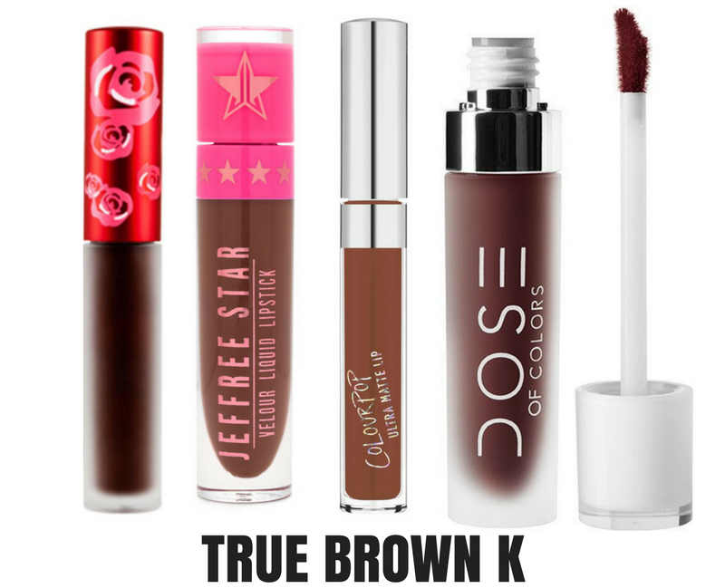 True Brown K Kylie Jenner lip kit dupes by alejandra avila