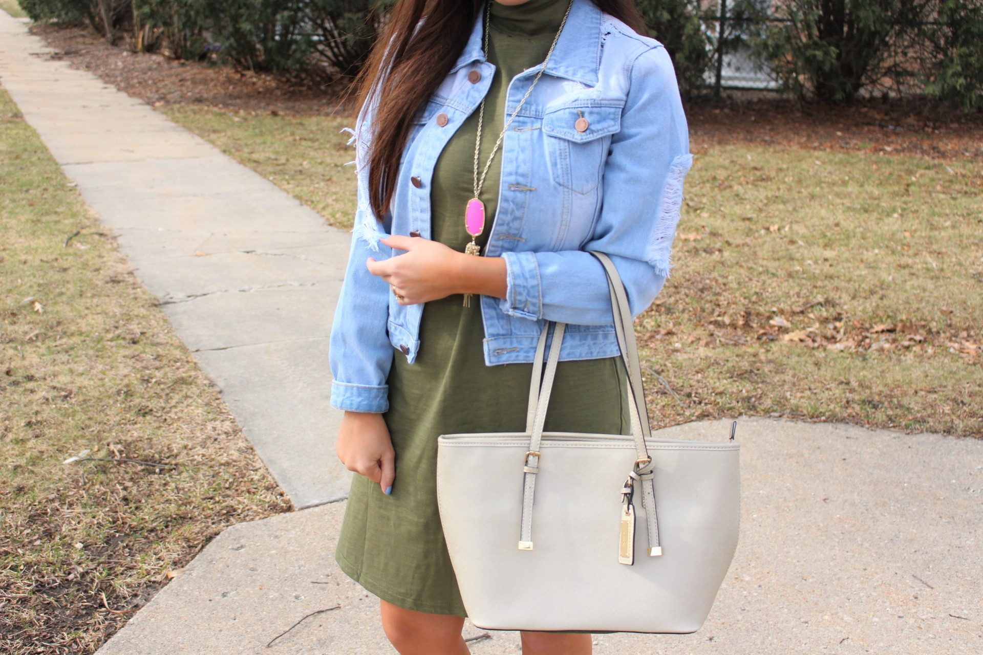 makeme chic military dress ootd jean jacket ALDO handbag by alejandra avila