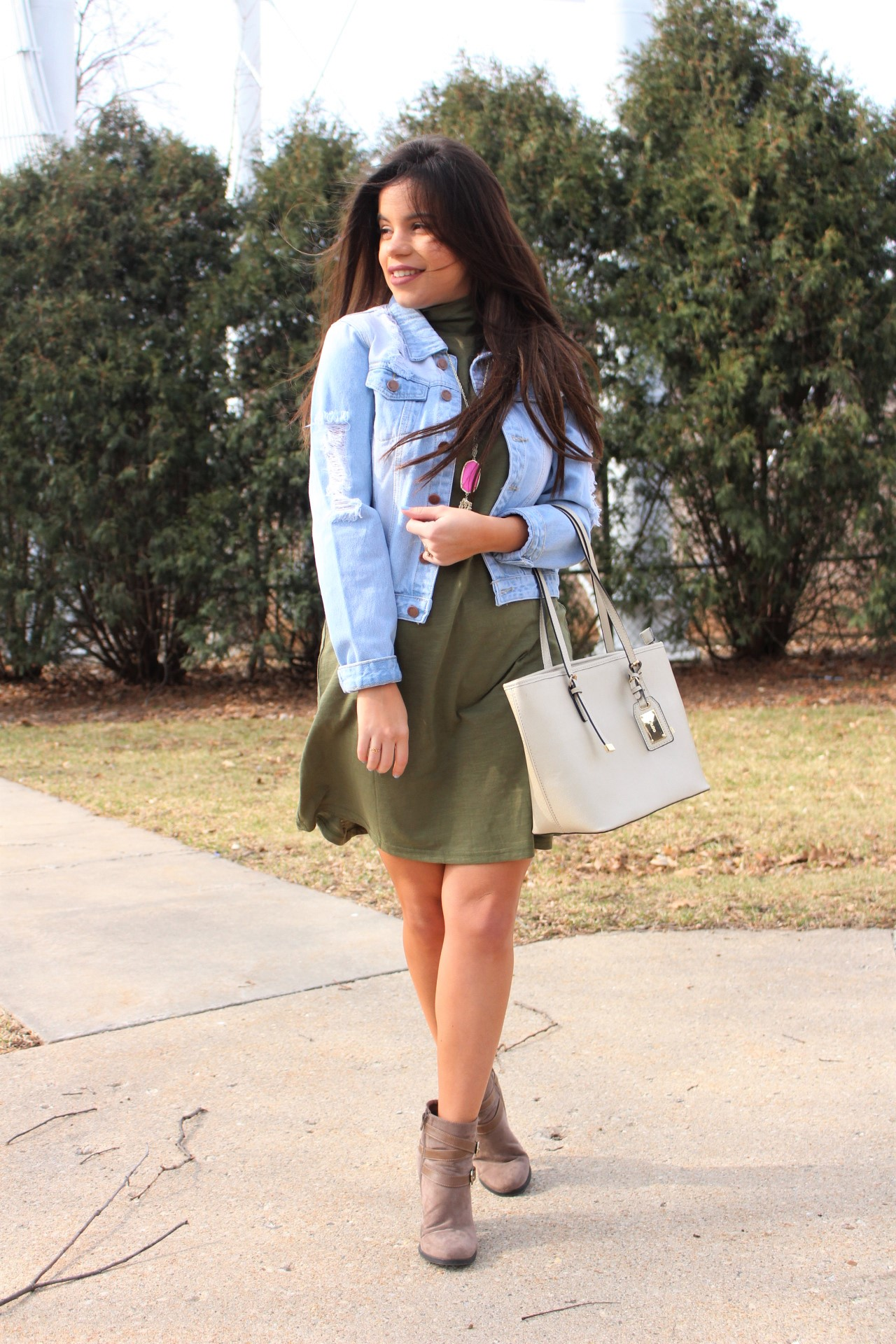 makeme chic military dress ootd jean jacket ALDO spring outfit handbag by alejandra avila