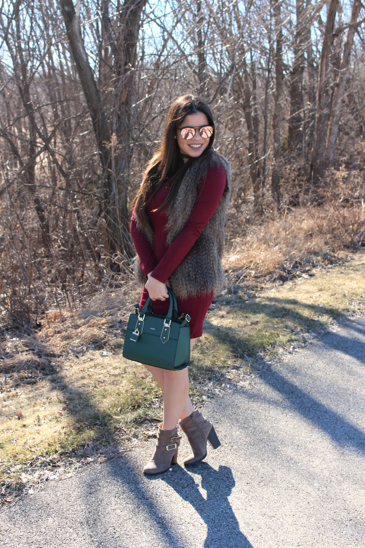 vestido vinotinto burgundy dress quay sunglasses aldo handbag by alejandra avila tufashionpetite