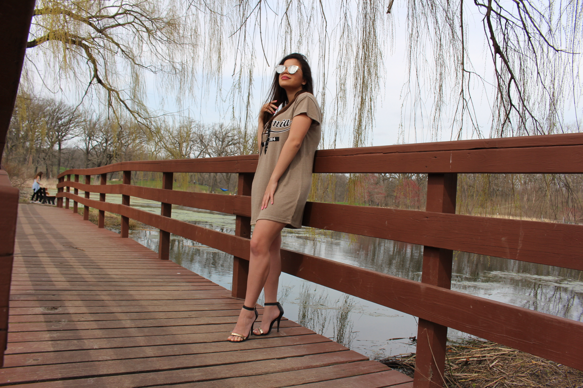 Nude dress outfit sojos vision sunglasses details steve madden sandals by Alejandra Avila