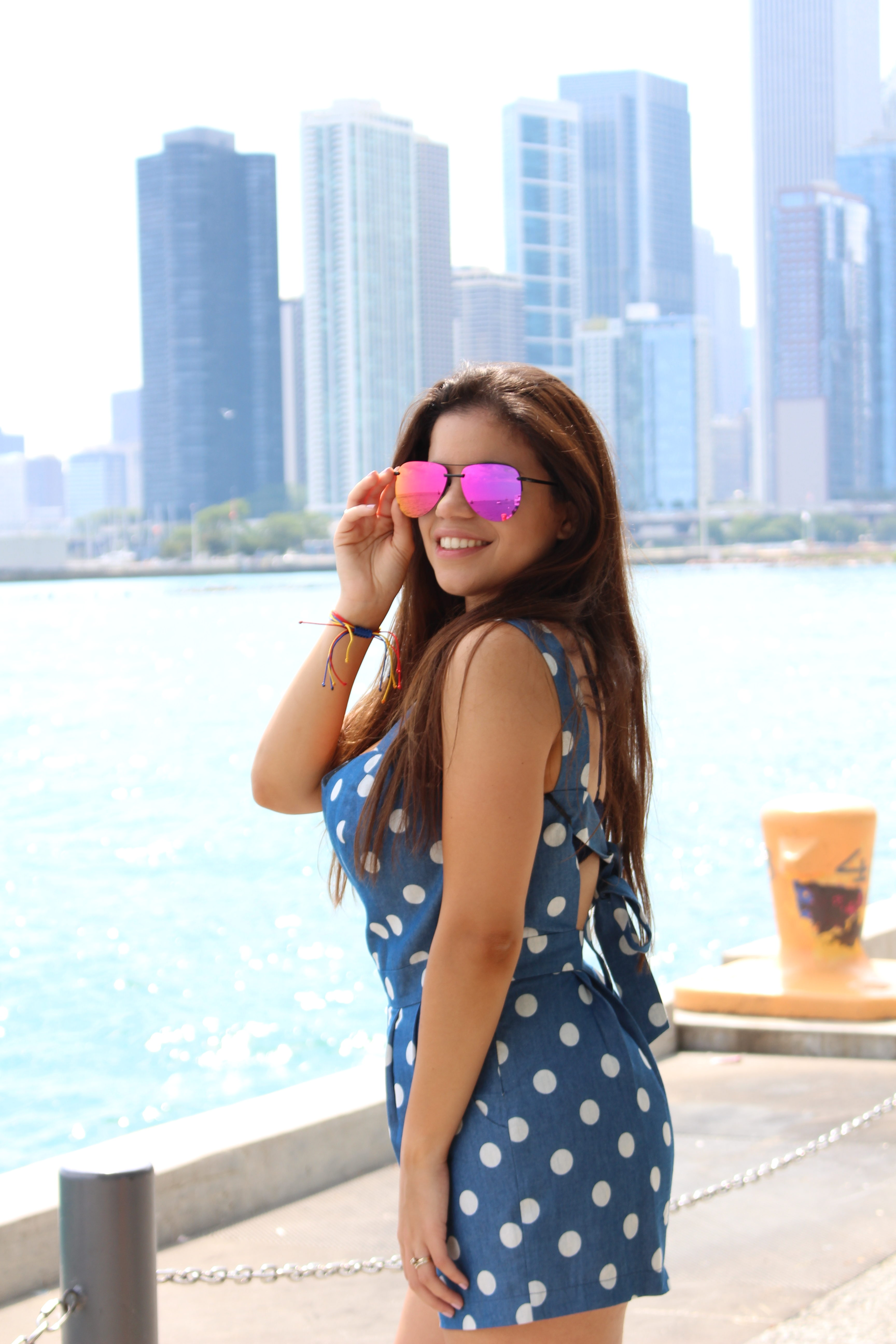 69edee8525e80 Navy Pier Jumpsuit Chicago Il Quay Australia the playa summer outfit OOTD  romper by Tu Fashion Petite Alejandra Avila