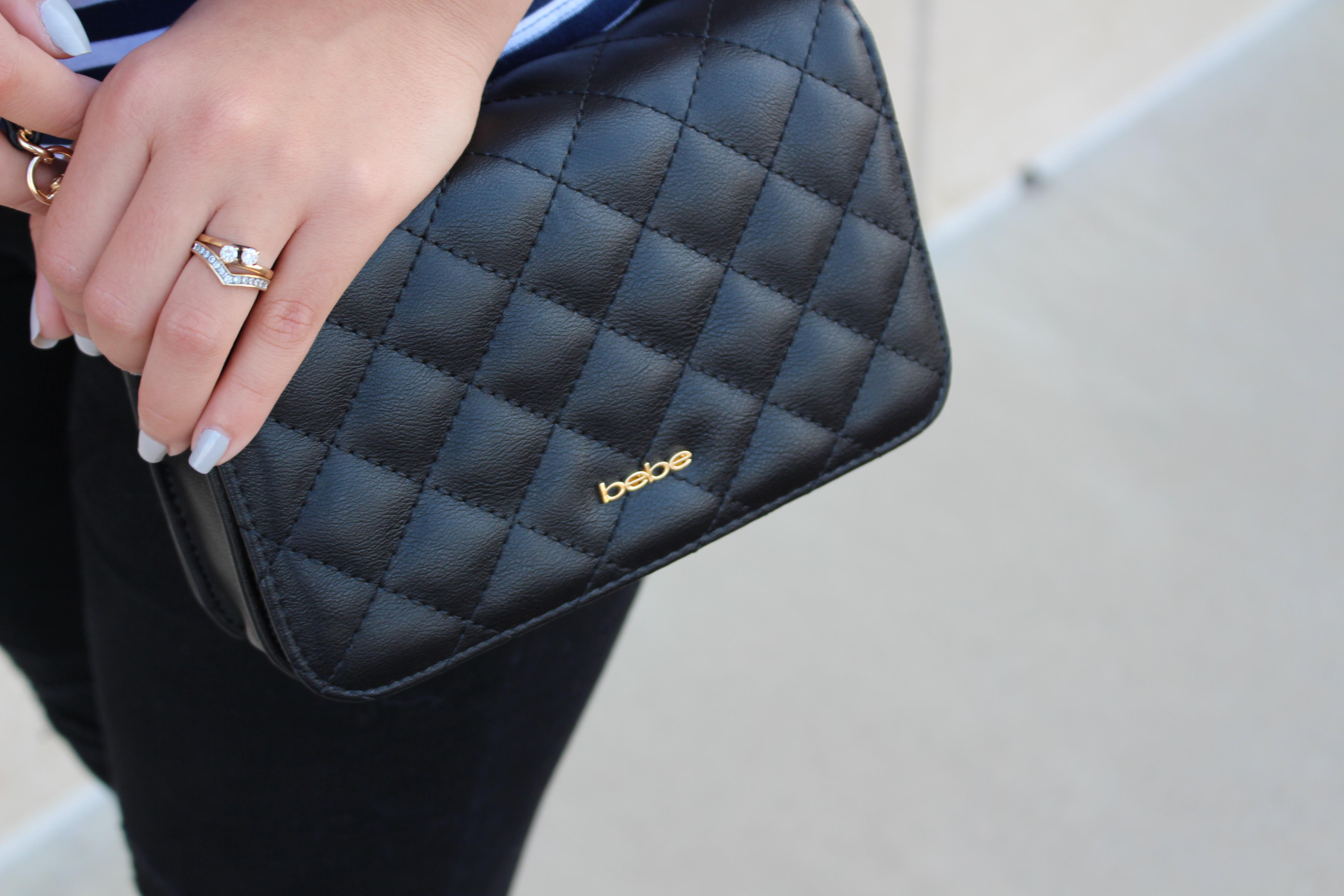 jeans negros black jeans old navy stripe shirt bebe bag charlotte russe choker outfit ripped jeans details steve madden sandals OOTD by alejandra avila tu fashionpetite