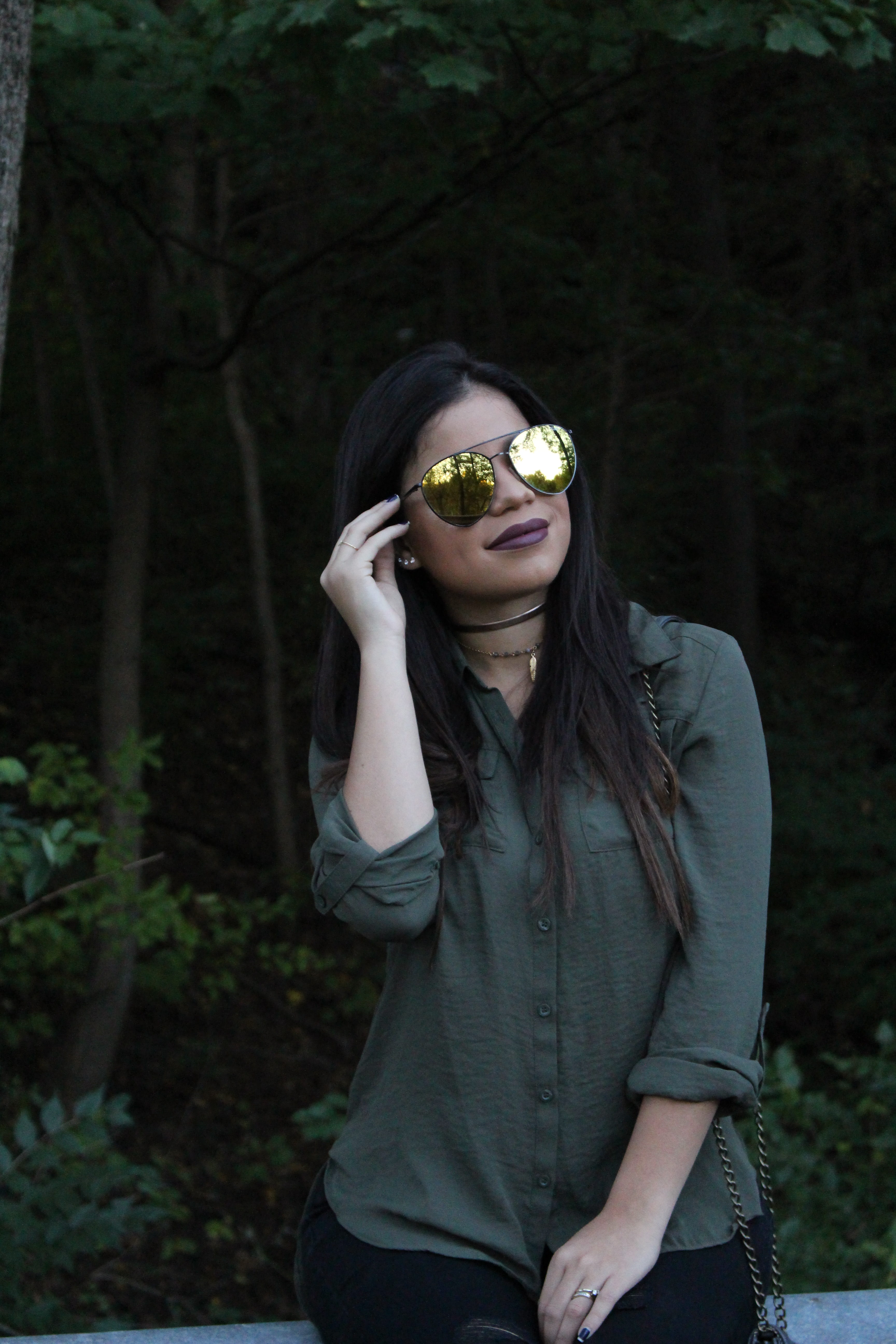 Olive Blouse old navy rockstar jeans steve madden bag fall outfit charlotte russe olive booties quay australia shades outfit idea OOTN by Alejandra Avila TuFashionPetite