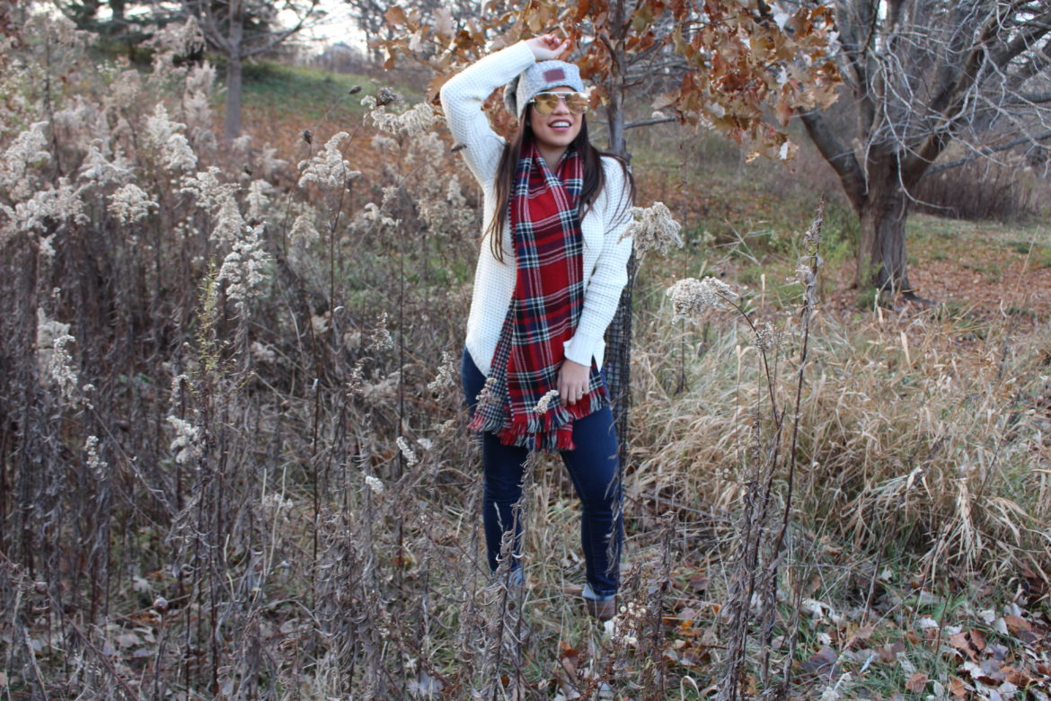 over sized scarf casual outfit just fab booties chunky sweater OOTD scarf details love your melon quay australis high key - by alejandra avila tufashionpetite